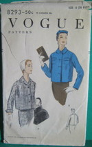 "Vintage Vogue Sewing Pattern 8293 Boxy Jacket 1956 sz 12 30"" Bust - $8.41"