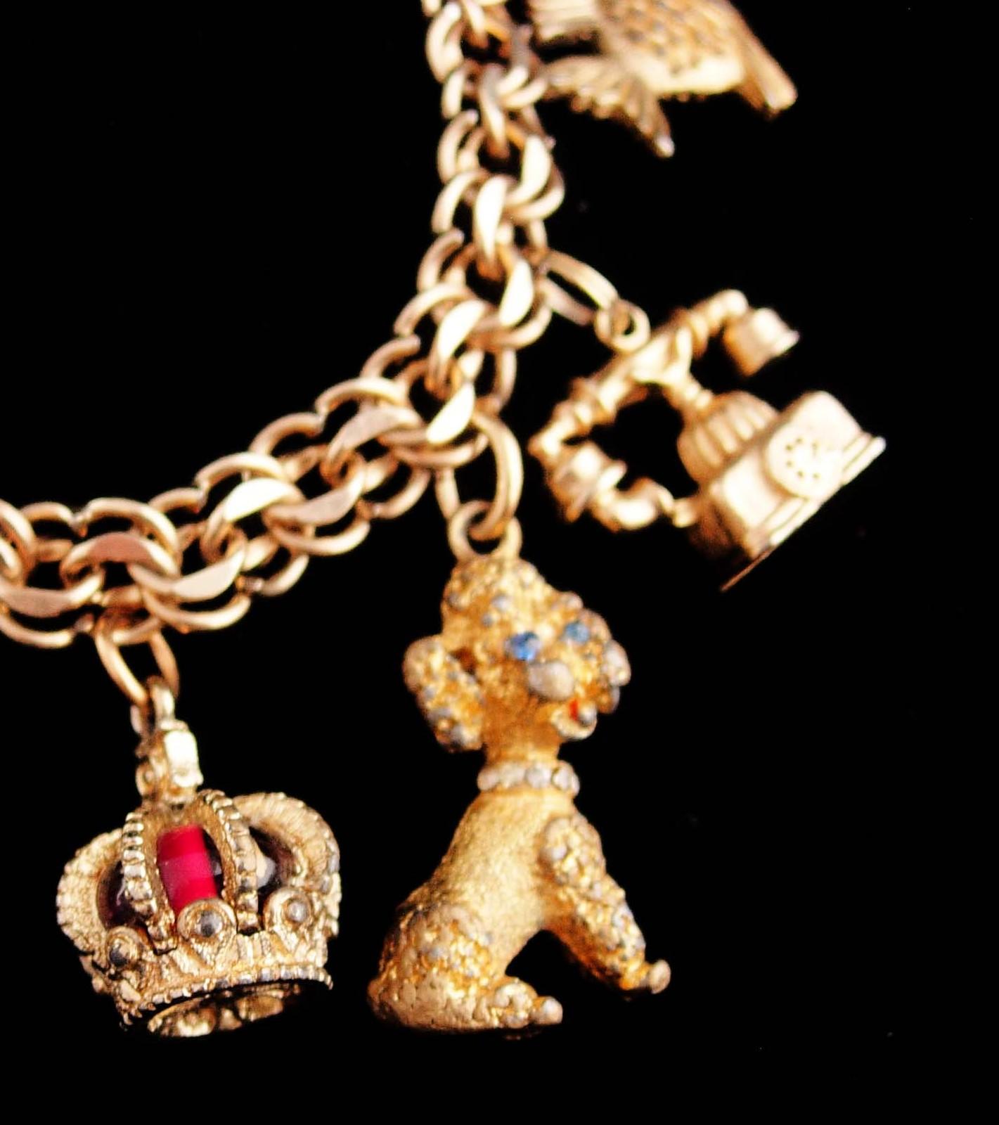 Vintage Gold filled Charm Bracelet - telephone - urn - gold sterling - crown ber