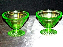 Two Block Optic Green cone Sherbet Glass Depression Glass AA19-CD0031 Vintage image 2