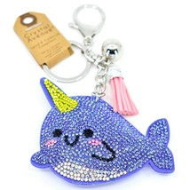 Pave Crystal Accent 3D Stuffed Pillow Narwhal Whale Keychain Key Chain image 1
