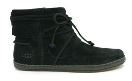 UGG AUSTRALIA Reid Women's Soft Suede Moccasin 1019129 - Black - Size 7.5 - NEW - $93.49