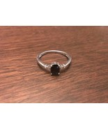 STERLING SILVER GENUINE 1CT OVAL BLUE SAPPHIRE & DIAMOND RING - SIZE 9 - $105.73