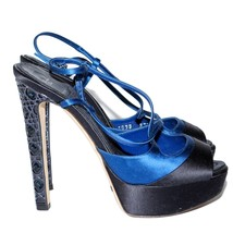 CHRISTIAN DIOR Blue Satin High Heels Sandals Buckle Stilettos Shoes Size... - $364.34