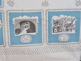 "VINTAGE SWEDISH BARKCLOTH COTTON TABLECLOTH 34"" SQUARE image 7"