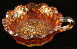 Vintage Imperial Heavy Grape Carnival Glass Handled Nappy Dish Bowl - $48.59