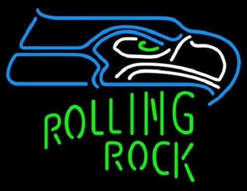 "New Rolling Rock Seattle Seahawks NFL Beer Neon Sign 24""x20"""
