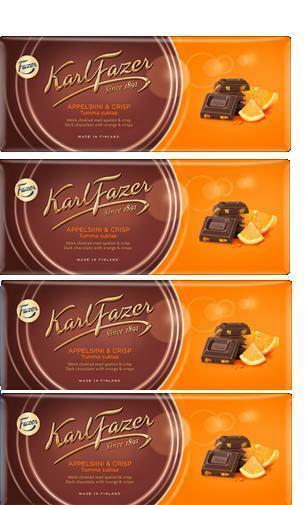 FAZER Karl Fazer Orange & Crisps in Dark Chocolate 4 x 200 g (4 pcs)