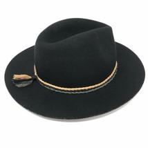 Ace of Something Womens Medium M Wool Fedora Hat Braided Tassel Black Fe... - $37.09