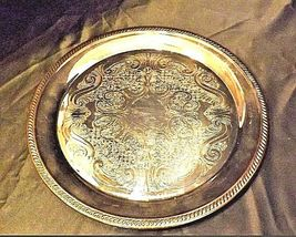 FB Rogers Silver Co Round Serving Tray Etched Design 12.5 883 AA18-1056-CVin image 4