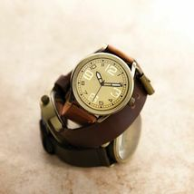 MEN'S VINTAGE STYLE LEATHER BAND WATCH - $18.00
