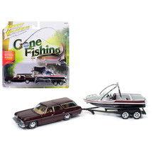1973 Chevrolet Caprice Station Wagon Dark Red Poly with Malibu Boat Gone... - $28.36