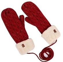 PANDA SUPERSTORE Cannabis Knitting Mitten Warm Gloves Winter Velvet Thicker Cute