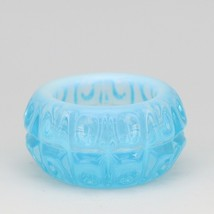 Vintage Blue Opalescent Glass Thumbprint & Block Pattern Open Salt Dip image 1
