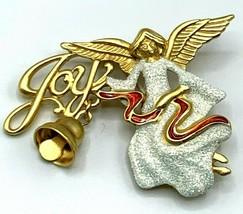 Vintage DANECRAFT Brooch Goldtone ANGEL Sparkly Joy Christmas Pin  - $22.21