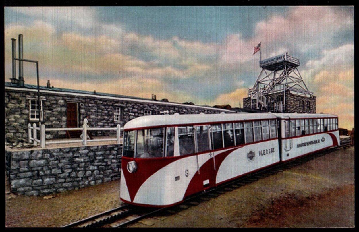 Cog Train Postcard Summit House Pikes Peak Summit CO PC