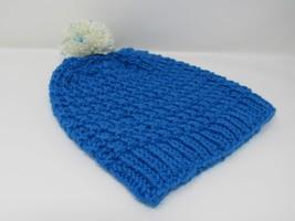 Handcrafted Knitted Hat Beanie Blue Alpaca/Merino Pom Pom Female Adult - $44.18