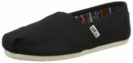 NEW TOMS Women's Classic Solid Black Canvas Slip On Flats Shoes NWOB image 2