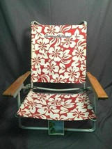 Tommy Bahama Folding Beach Camping Tailgate Patio Deck Chair Rare Red Pa... - $39.59