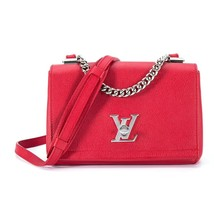 100% Authentic Louis Vuitton Red Rubis Lockme II BB Bag Receipt Mint