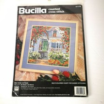 Bucilla Red Rose Cottage Counted Cross Stitch Aida Cloth & Chart - $25.00