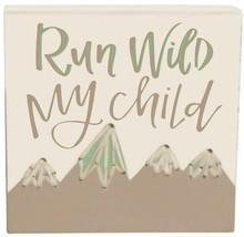 Primitives by Kathy, Stitched Block - Run Wild My Child, Bedroom, Nursery Decor - $9.40