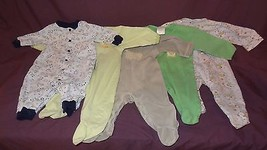 Lot 5 Baby Boy Sleeper 3 to 6 Months Bunch Sheep Puppy Blue Pajamas - St... - $10.89