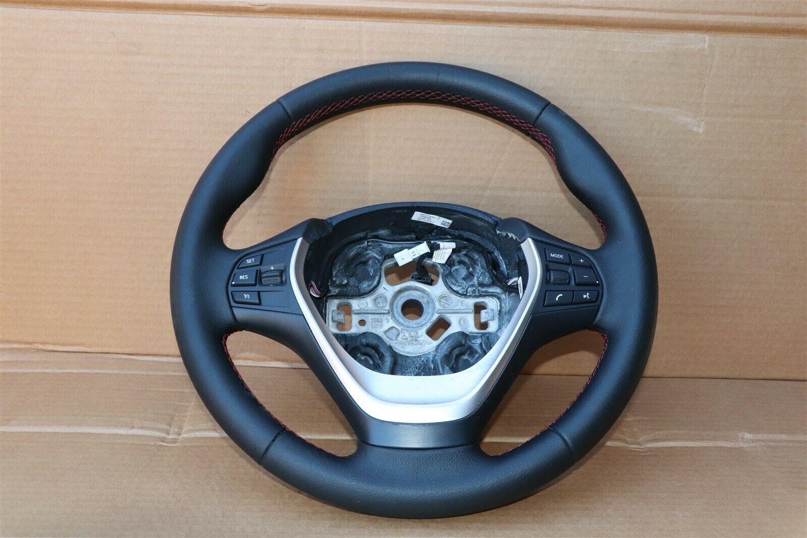 12-18 BMW F30 Sport Steering Wheel w/ Cruise BT Volume W/O Paddles -RED STITCH