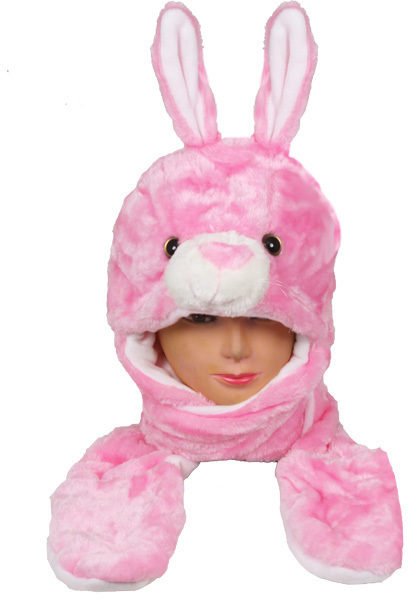 Case of [24] Pink Bunny Animal Winter Hat - Mittens