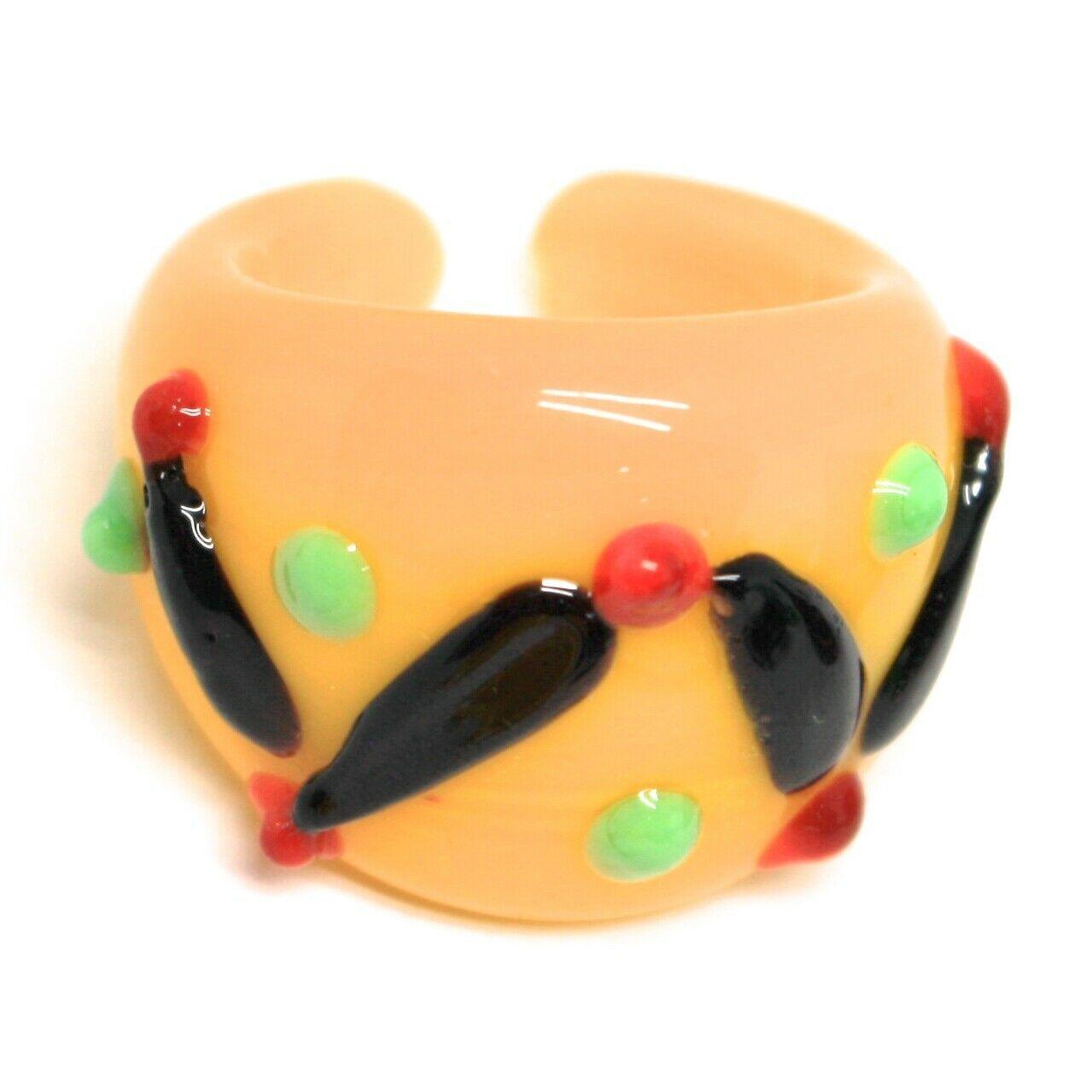 Ring Antique Murrina, Murano Glass, Black, Yellow, Wave, Polka dot Embossed