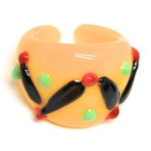 Ring Antique Murrina, Murano Glass, Black, Yellow, Wave, Polka dot Embossed image 1