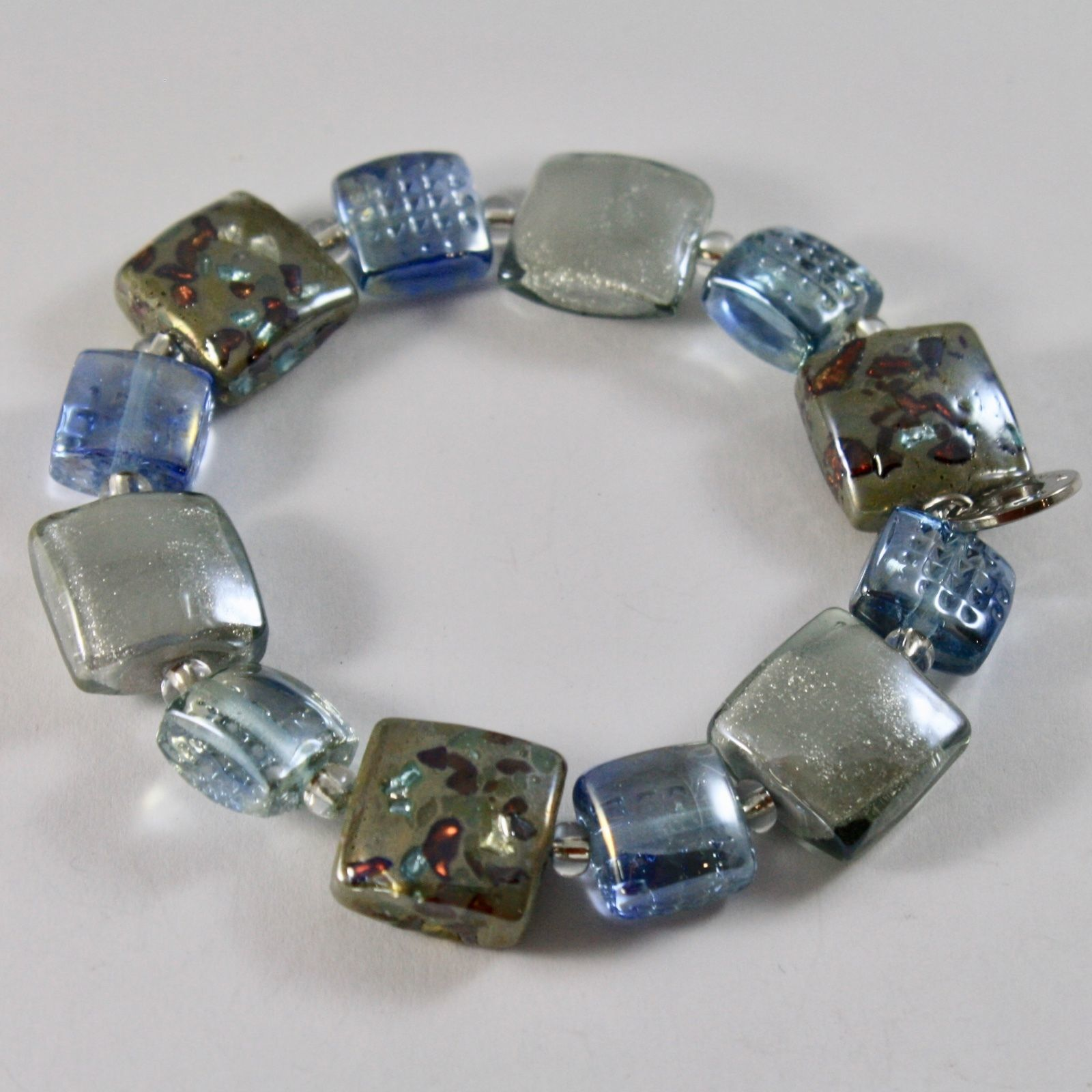 BRACELET ANTICA MURRINA VENEZIA MURANO GLASS, SQUARES BLUE GREY, ELASTIC