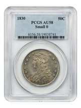 1830 50c PCGS AU58 (Small 0) Great Type Coin - Bust Half Dollar - $1,018.50