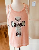 Embroidered Cross Tank Peach Top Womens Small - $7.99