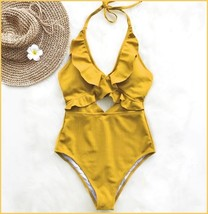 Ruffled Neck Halter Backless Padded Bra High Cut Gold Color Monokini Swimsuit