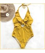 Ruffled Neck Halter Backless Padded Bra High Cut Gold Color Monokini Swi... - $36.95