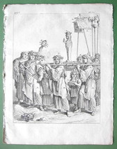 EGYPT Procession Honoring Orus  - 1774 Antique Print Copperplate Engraving - $10.80