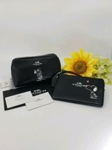 COACH X PEANUTS SNOOPY BLACK LEATHER COSMETIC CASE & WRISTLET LIMITED ED... - $326.32