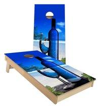 Blue Vodka Bottle on the Beach Cornhole Boards - $179.00