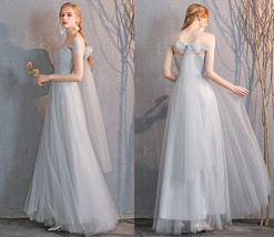 Floor Length Maxi Bridesmaid Dresses Tulle Wedding Dress Light Gray Off Shoulder