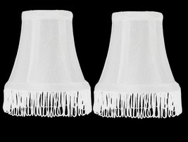 Urbanest Set of 2 White with White Fringe Silk Bell Chandelier Lamp Shade, 3-inc - $15.83