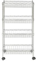 "happimess Grove 4-Shelf 47"" Basket Rack with Casters, Chrome, Silver - $100.89"