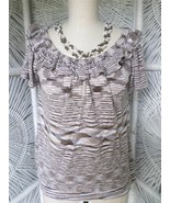 BANANA REPUBLIC Knit Scoop Ruffle Collar Short Sleeve Tank Top Blouse Si... - $11.29