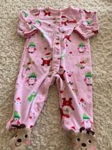 Child Of Mine Girls Pink Santa Reindeer Fleece Long Sleeve Pajamas 6-9 Months - $5.00