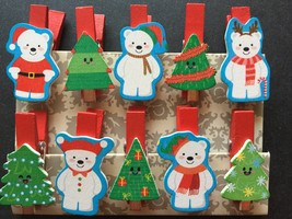 30pcs Santa Clause Christmas Gifts Favors Photo Clips,Paper Pegs,wood cl... - $7.20