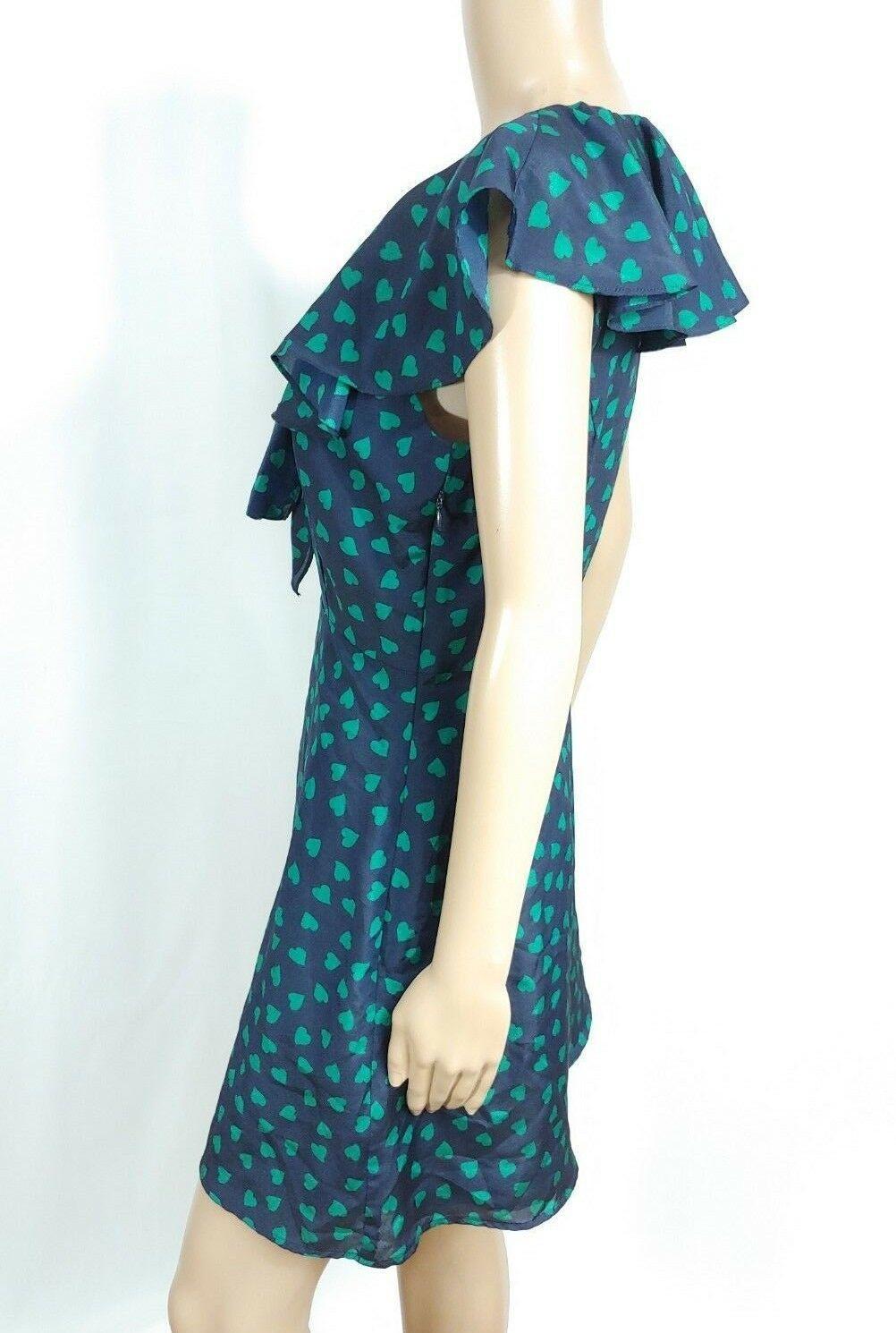 Forever 21 Navy Blue Green Heart Polka Dot Flutter Ascot Bow Tie Shirt Dress M