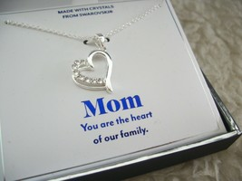 Mom Heart Necklace Set Swarovski Crystals Silver Mother Family Gift Of L... - $29.69