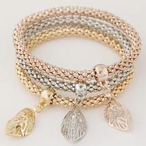 3PCS Set Crystal Bracelets & Bangles 2017 Gold Wrap Charm Bracelets Femm... - $14.28