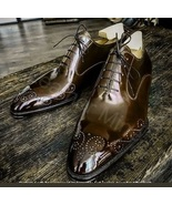 Men's Handmade Leather Lace up, Genuine Leather Patina Oxfords Shoes For... - $159.99+