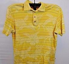 Tommy Bahama Hawaiian Polo shirt XL Silk/Cotton Yellow Stripped w/Pineapple SS - $38.99