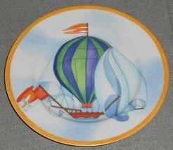 Williams Sonoma Montgolfiere Pattern Salad Plate Hot Air Balloon Motif Japan/USA - $19.79